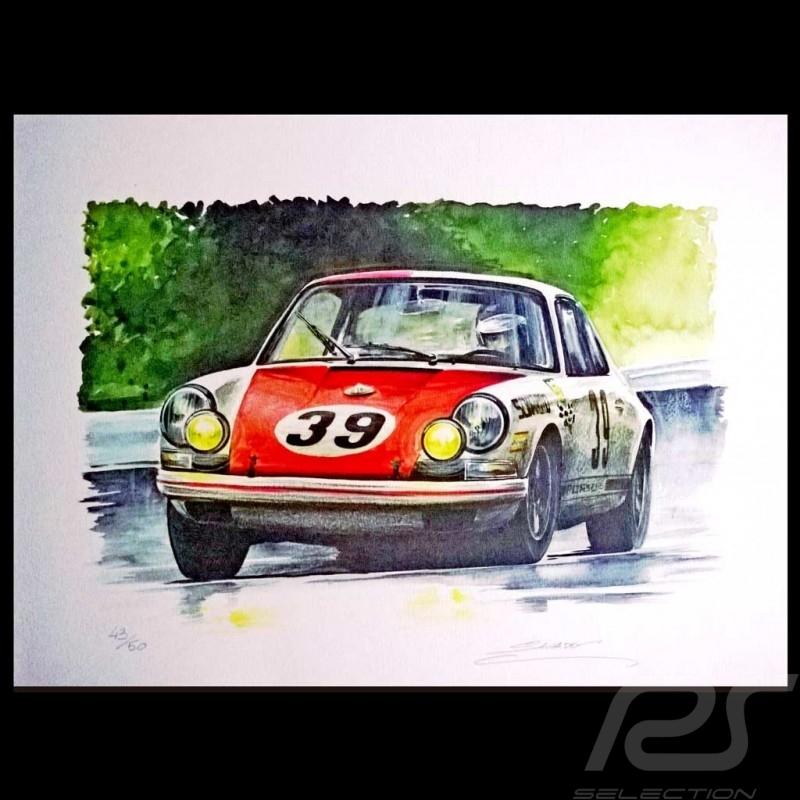 Porsche 911 N 39 Spa 1969 Original Drawing By Sbastien Sauvadet