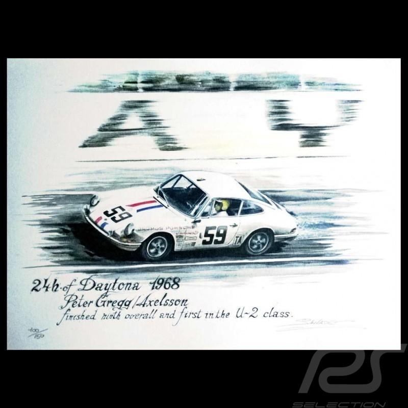 Porsche 911 n 59 daytona 1968 dessin original de - Dessin de porsche ...