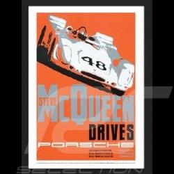 Steve McQueen Porsche Sebring reproduction d'un poster original de Nicolas Hunziker