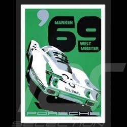 Porsche 1969 Marken Weltmeister reproduction d'un poster original de Nicolas Hunziker