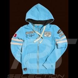 Porsche Hoodie Jacke Jo Siffert n° 12 Gulf blau für Damen