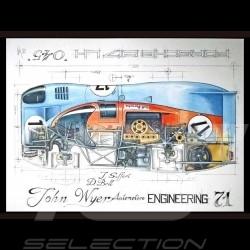 Porsche 917 LH Gulf JWA n° 17 Le Mans 1971 original drawing by Sébastien Sauvadet