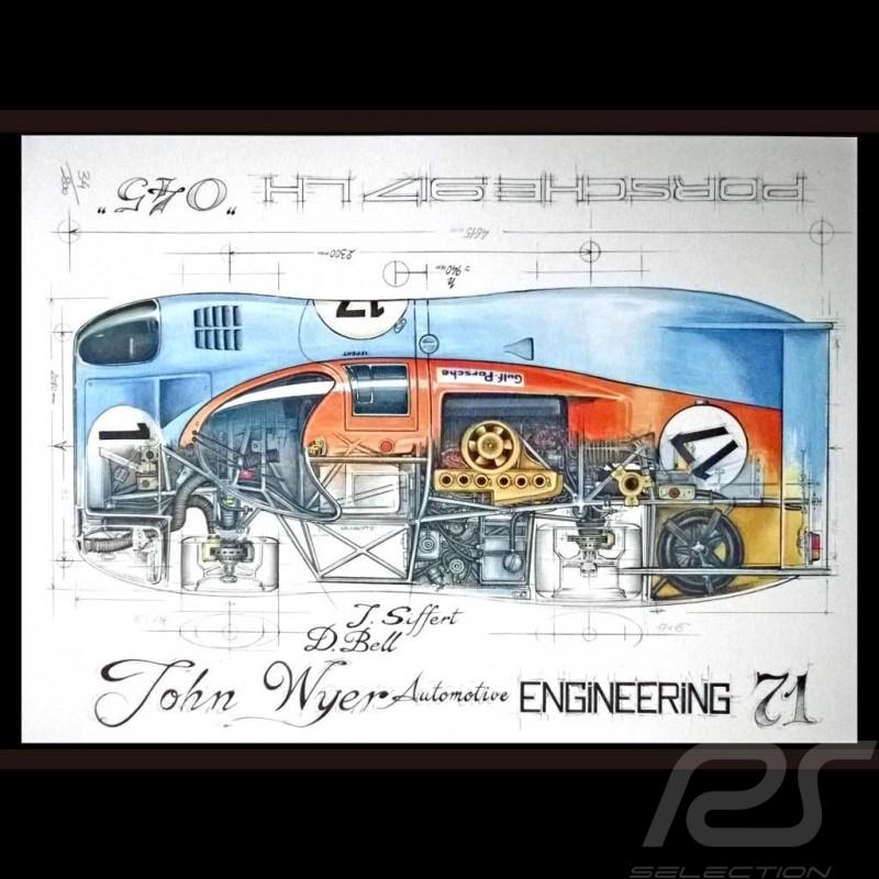 Porsche 917 LH Gulf JWA n° 17 Le Mans 1971 Original Zeichnung von Sébastien Sauvadet