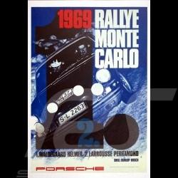 Porsche Poster 911 R vainqueur Rallye Monte Carlo 1969 Waldegaard Larrousse
