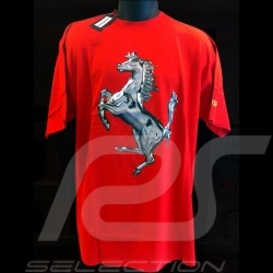 T-shirt Ferrari Cavallino argent rouge homme