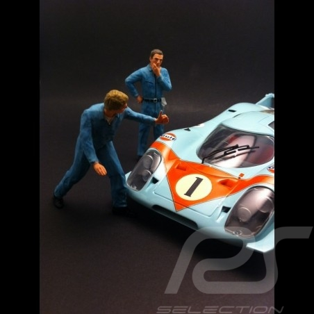 Set figurines diorama 2 mechanics in blue 1/18 AS180138