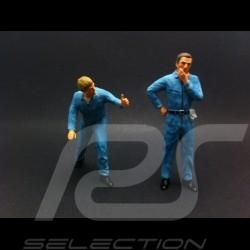 Set figurines diorama 2 mécaniciens en bleu mechanics in blue Mechaniker in blau 1/18 AS180138