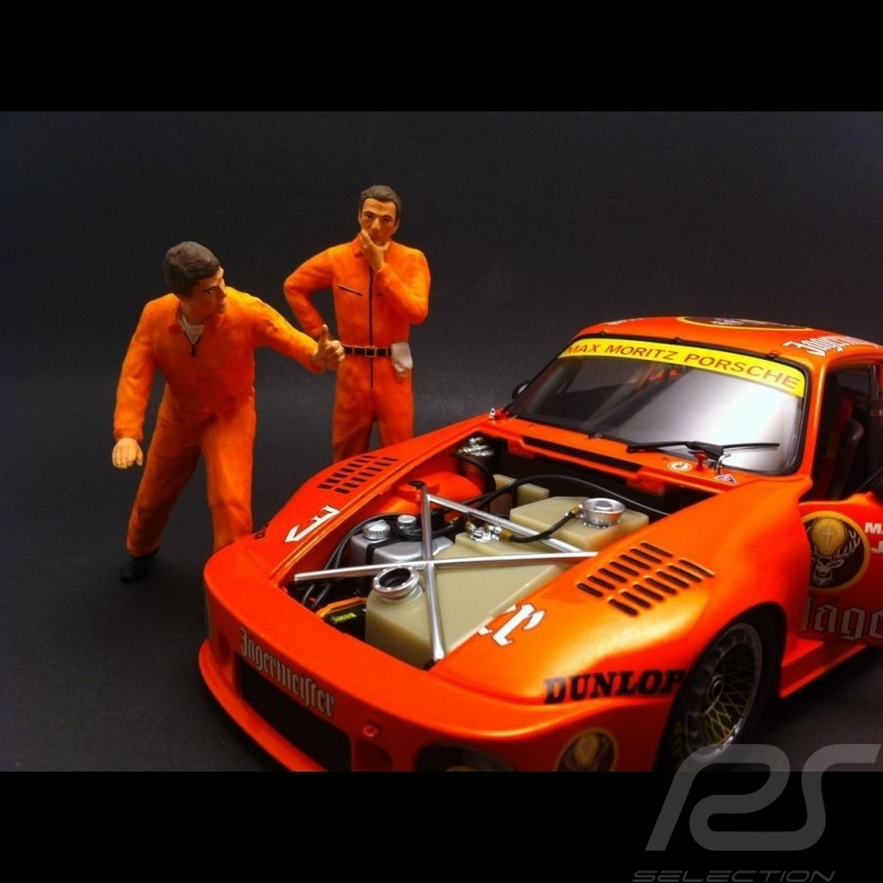 Set figurines diorama 2 mécaniciens en orange 1/18 AS180137