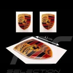 Set de 2 autocollants 3D Porsche  4.5 x 3.5 cm Crest 3D sticker Wappen Aufkleber