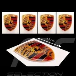 Set de 4 autocollants 3D Porsche  4.5 x 3.5 cm Crest 3D sticker Wappen Aufkleber