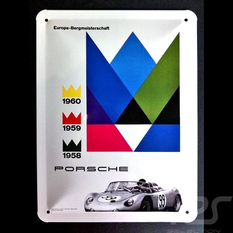 Plaque métal Porsche 718 RSK championnat d'europe de la montagne 1958 1959 1960 Metal plate Blechschild MAP01572116