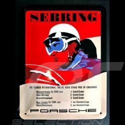 Plaque métal Porsche Sebring pilote casque vintage Metal plate Blechschild MAP11601016