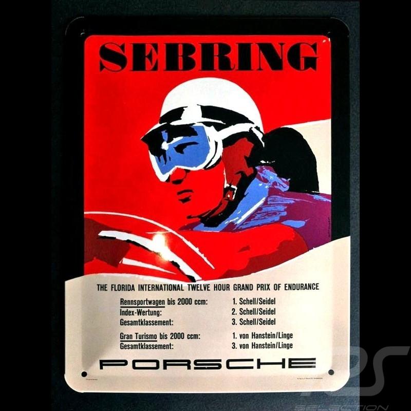 Metal plate Porsche Sebring driver vintage helmet 20 x 15 cm MAP11601016