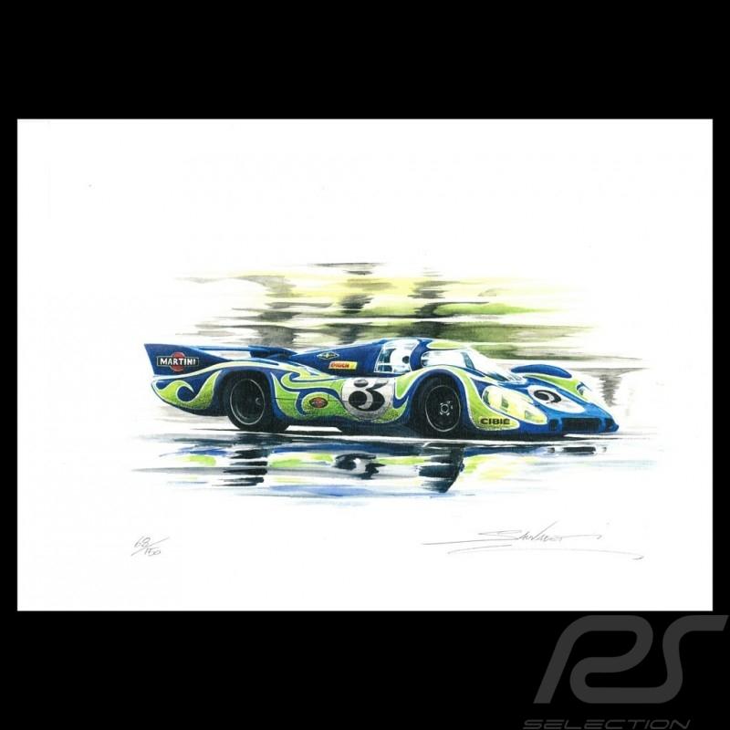Porsche 917 LH Le Mans 1970 n° 3 original drawing by Sébastien Sauvadet