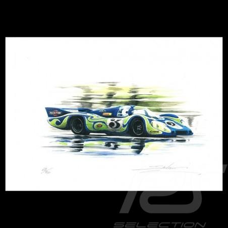 Porsche 917 LH Le Mans 1970 n° 3 Original Zeichnung von Sébastien Sauvadet