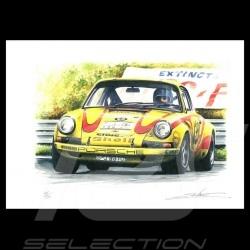 Porsche 911 n° 139 Tour Auto1970 dessin original de Sébastien Sauvadet original drawing Zeichnung