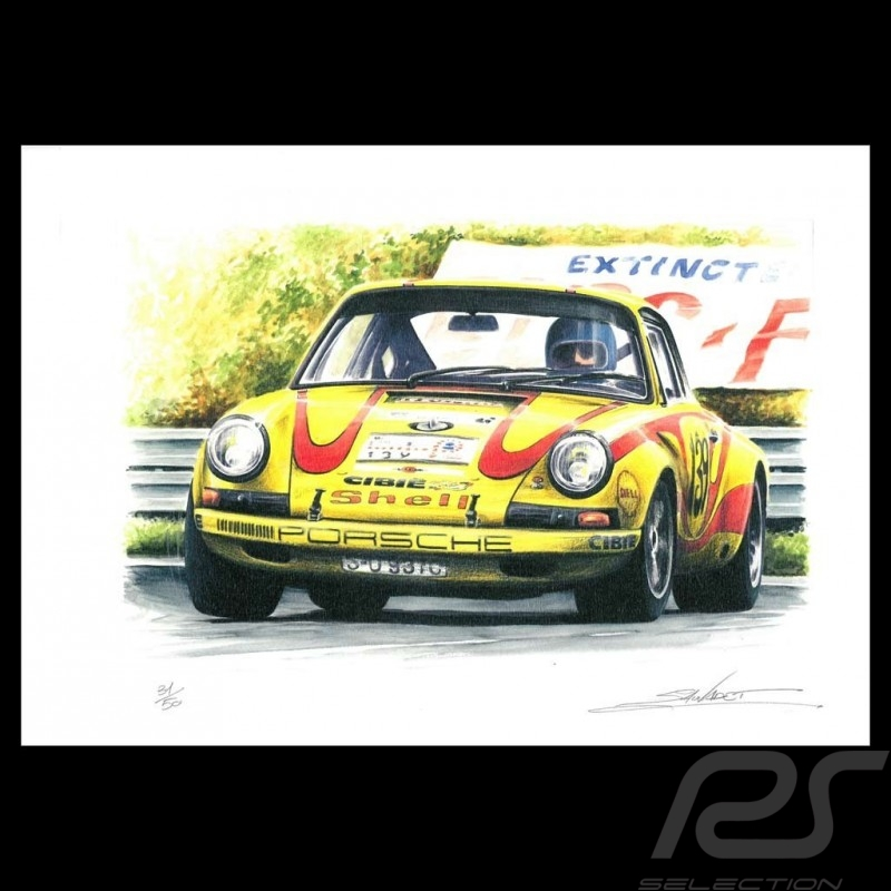 Porsche 911 n° 139 Tour Auto1970 original drawing by Sébastien Sauvadet