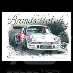 Porsche 911 RSR Martini Brands Hatch 1974 n° 5 original drawing by Sébastien Sauvadet