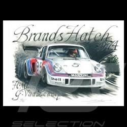 Porsche 911 RSR Martini Brands Hatch 1974 n° 5 Original Zeichnung von Sébastien Sauvadet