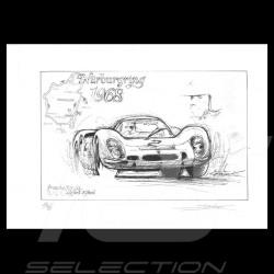 Porsche 908 n° 2 Nürburgring 1968 original drawing by Sébastien Sauvadet