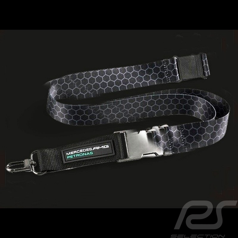 Porte Clé Mercedes AMG Ruban Tour De Cou Noir Gris Selection RS - Tour de cou porte clé
