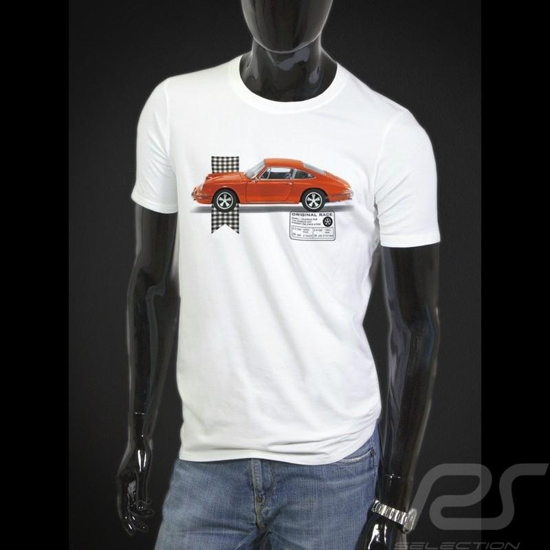 T-Shirt Porsche 911 orange - weiß - Herren