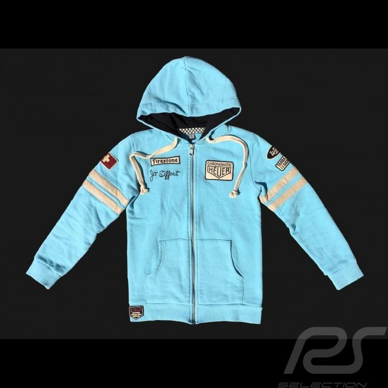 Hoodie jacket Jo Siffert n° 12 Gulf blue - kids