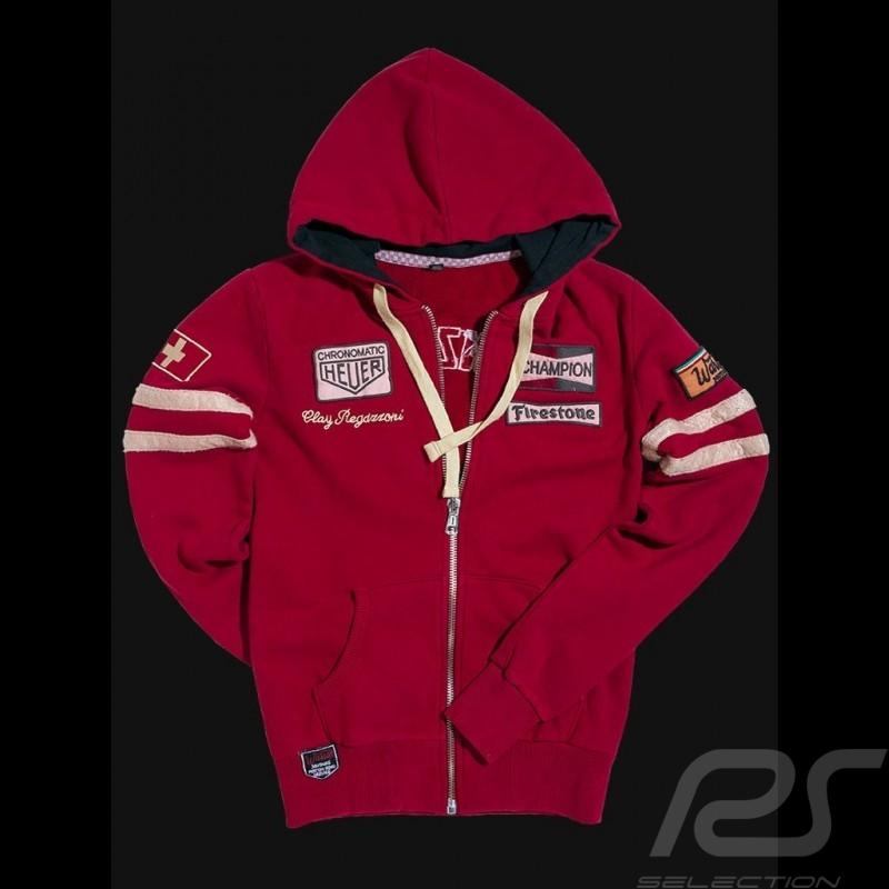 Veste à capuche hoodie Clay Regazzoni rouge Hoodie jacket Hoodie Kapuzenjacke