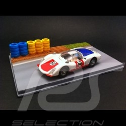 Track decor diorama straight with yellow and blue tires 1/43