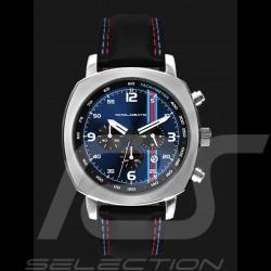 Montre Chrono Martini Racing boitier argent / fond bleu Watch uhr