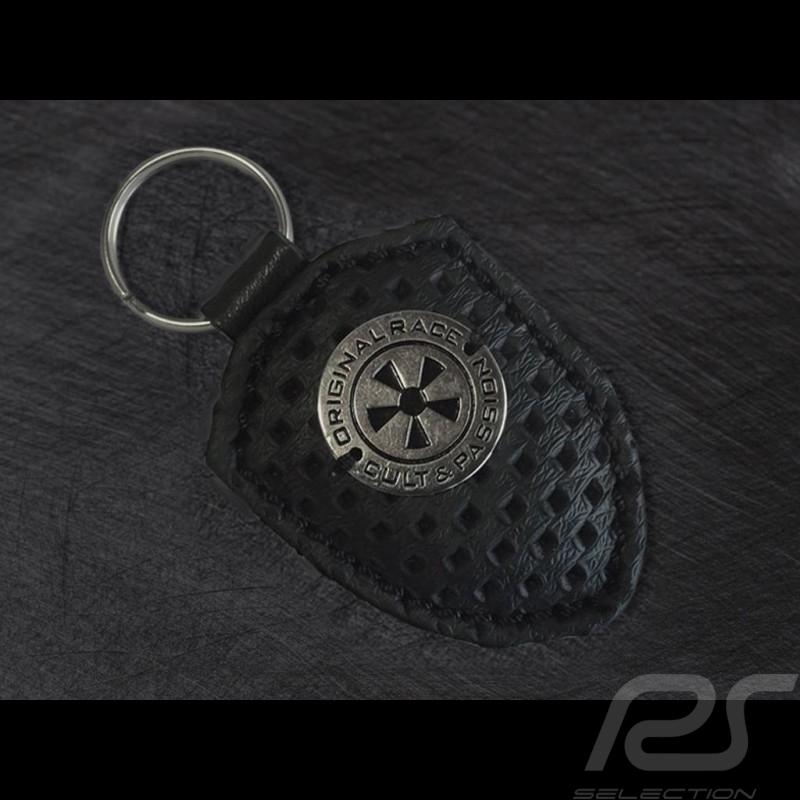 Wappen Schlüsselanhänger 911 classic Lederplatte schwarz