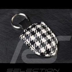 Porte-clés écusson pied de poule cuir sans décor Crest keyring houndstooth leather Wappen Schlüsselanhänger Lederplatte