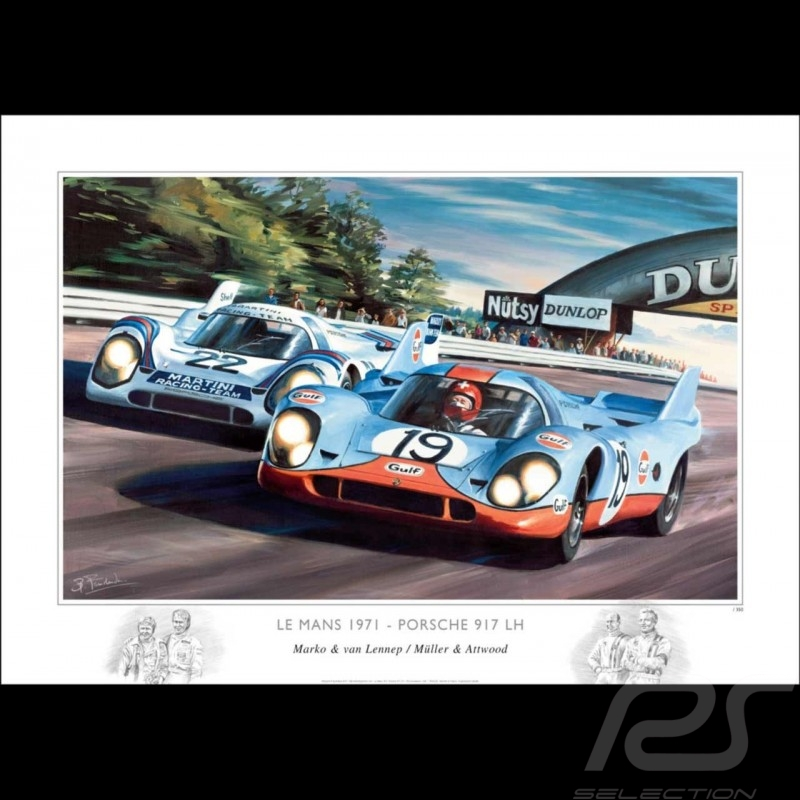 Porsche 917 le Mans 1971 original drawing by Benjamin Freudenthal
