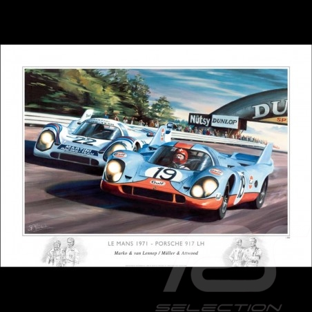 Porsche 917 le Mans 1971 dessin original de Benjamin Freudenthal original drawing Original Zeichnung