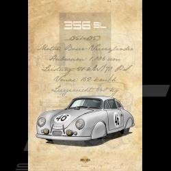 Affiche Porsche 356 SL imprimée sur plaque Aluminium Dibond 40 x 60 cm Helge Jepsen poster plate Plakat Drückplatte