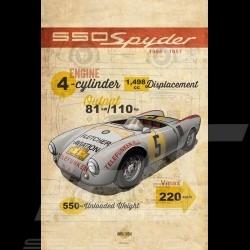 Affiche Porsche 550 Spyder imprimée sur plaque Aluminium Dibond 40 x 60 cm Helge Jepsen poster plate Plakat Drückplatte