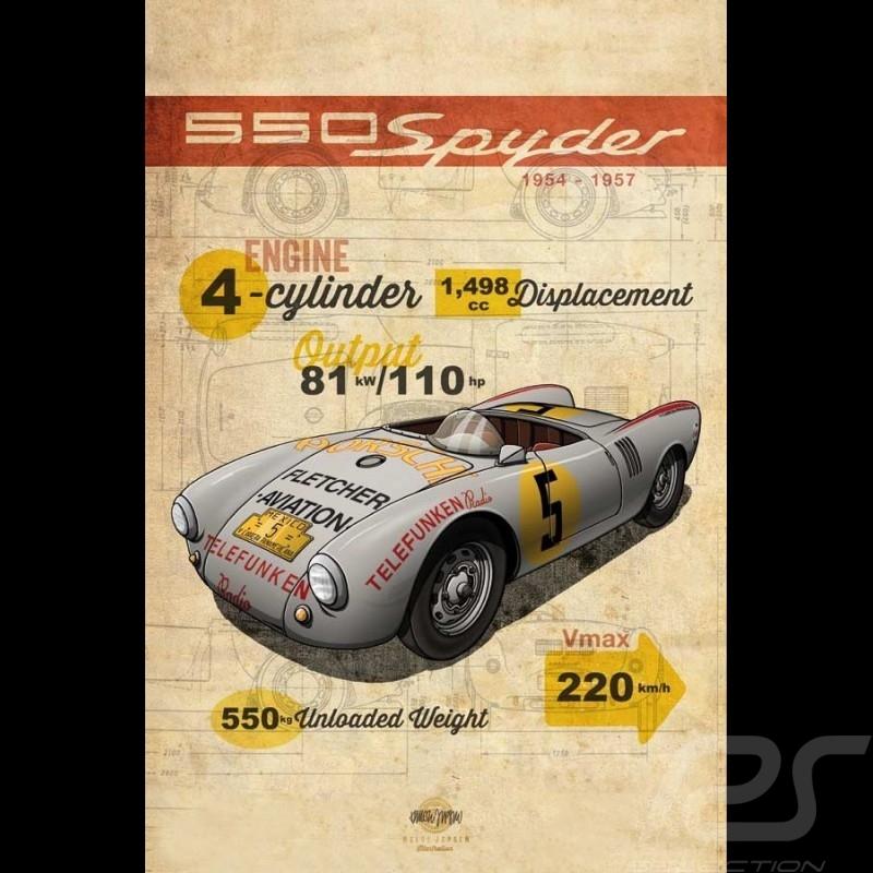 Poster Porsche 550 Spyder printed on Aluminium Dibond plate 40 x 60 cm Helge Jepsen