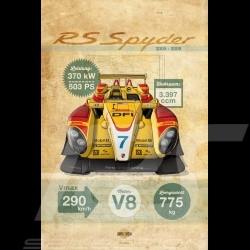 Poster Porsche RS Spyder printed on Aluminium Dibond plate 40 x 60 cm Helge Jepsen