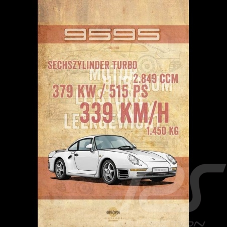 Plakat Porsche 959 S Drückplatte auf Aluminium Dibond 40 x 60 cm Helge Jepsen