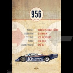 Affiche Porsche 956 imprimée sur plaque Aluminium Dibond 40 x 60 cm Helge Jepsen poster plate Plakat Drückplatte