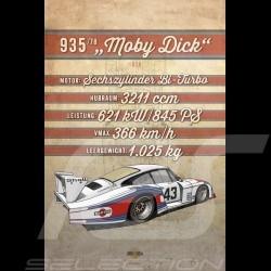 Affiche Porsche 935 Moby Dick imprimée sur plaque Aluminium Dibond 40 x 60 cm Helge Jepsen poster plate Plakat Drückplatte