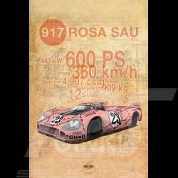 Affiche Porsche 917 Cochon Rose imprimée sur plaque Aluminium Dibond 40 x 60 cm Helge Jepsen Plakat Poster plate Drückplatte