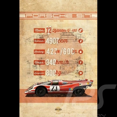 Plakat Porsche 917 K n° 23 Drückplatte auf Aluminium Dibond 40 x 60 cm Helge Jepsen