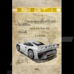 Affiche Porsche 911 GT1 imprimée sur plaque Aluminium Dibond 40 x 60 cm Helge Jepsen poster plate Plakat Drückplatte