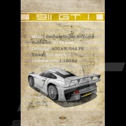 Poster Porsche 911 GT1 printed on Aluminium Dibond plate 40 x 60 cm Helge Jepsen