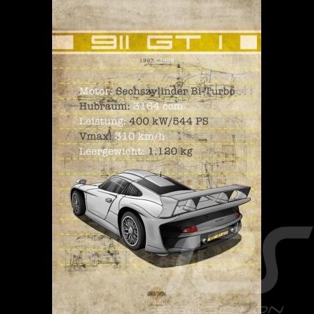 Plakat Porsche 911 GT1 Drückplatte auf Aluminium Dibond 40 x 60 cm Helge Jepsen
