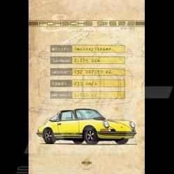 Poster Porsche 911 S 2.2 printed on Aluminium Dibond plate 40 x 60 cm Helge Jepsen