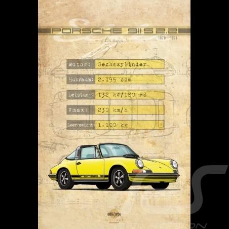 Affiche Porsche 911 S 2.2 imprimée sur plaque Aluminium Dibond 40 x 60 cm Helge Jepsen poster plate Plakat Drückplatte
