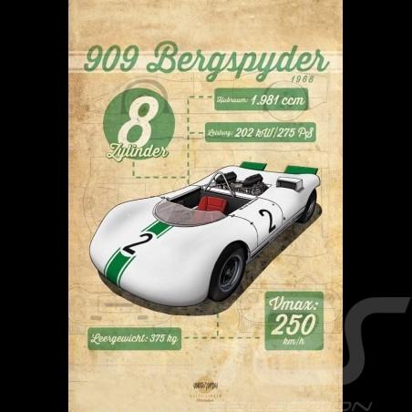 Affiche Porsche 909 Bergspyder imprimée sur plaque Aluminium Dibond 40 x 60 cm Helge Jepsen poster plate Plakat Drückplatte