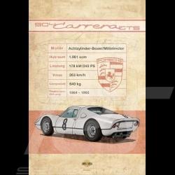 Affiche Porsche 904 Carrera GTS imprimée sur plaque Aluminium Dibond 40 x 60 cm Helge Jepsen poster plate Plakat Drückplatte